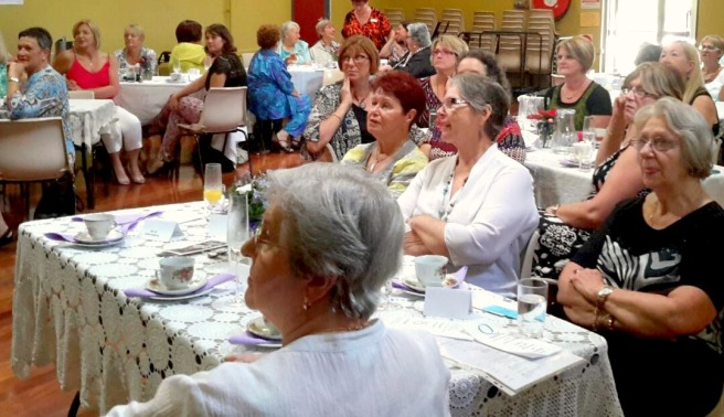Quotarians in Leisure Coast listen to the harrowing reports of exploitation from Aimee Chaffer.