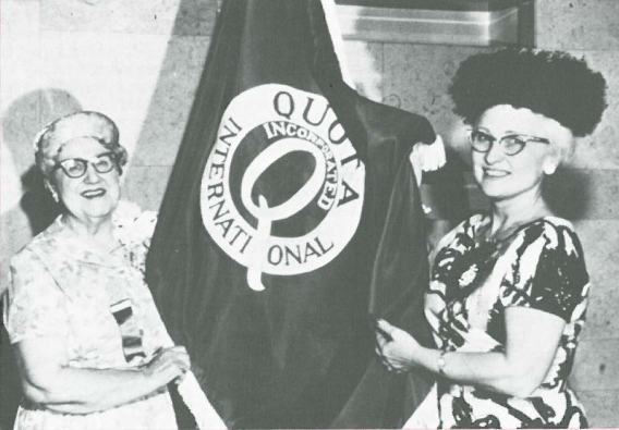 Wanda Frey Joiner and Quota International Flag